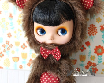 20% OFF - Girlish - Fluffy Bear outfit set for Blythe doll - dress / outfit
