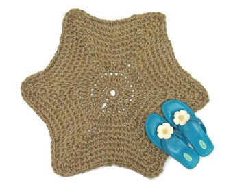 Star Jute Rug   Starfish Accent Rug   Primitive Decor   Indoor Outdoor Area  Rug