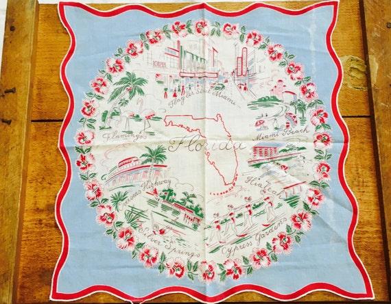 Vintage Florida Handkerchief Hanky USA Travel Souvenir