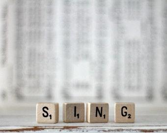 vintage wood block word SING