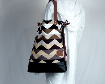 Zig Zag Pattern Brown Tote Bag with Bohemian Leather Fringes and Straps Handmade for Women