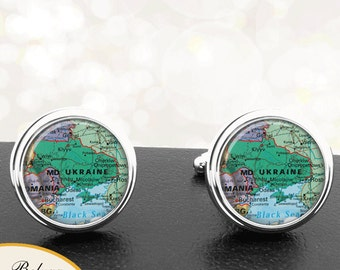Map Cufflinks Ukraine Cuff Links Europe Country Countries for Groomsmen Wedding Party Fathers Dads Men