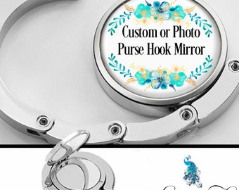 Custom or Photo Purse Hook Bag Hanger Lipstick Compact Mirror - Your Picture Artwork Logo or Any Design From My Shop