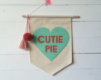cutie pie canvas pennant