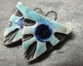 Tri- handmade artisan ceramic triangle tribal earring beads matched pair rustic aqua cobalt blue 3055