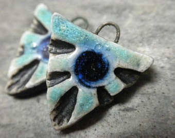 Tri- handmade artisan ceramic triangle tribal earring beads matched pair rustic aqua cobalt blue 3055