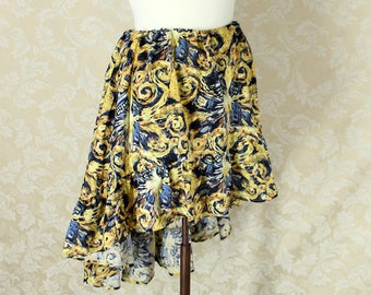 "Doctor Who High Low Mini Cecilia Skirt -- Exploding T.A.R.D.I.S. Van Gogh Print -- Ready to Ship -- Fits Up To 40"" Waist"