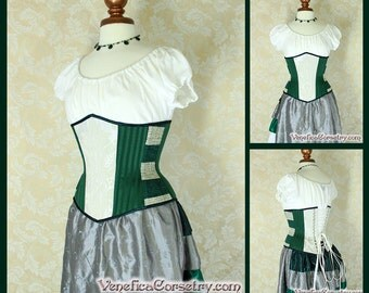 "Serpent Wizard House Inspired Underbust Corset - Solid Front, Green & Silvery White - Corset Size 20, Best Fits Waist 23-25"" - Ready to Ship"