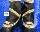 WOMENS SPATS GAITERS Shoe Covers in Black Satin with Gold Textured Pyramid Faux Studs Steampunk Goth Edwardian Victorian Pageant Renaissance