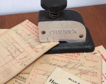 Chadwick slot hole punch 1940s vintage office school supply made in Japan