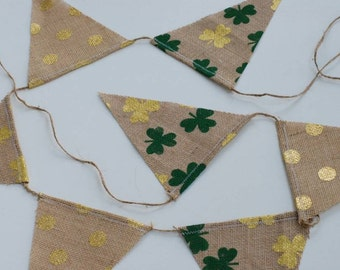 Shamrock and Gold Burlap Banner
