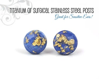 10mm Denim Blue Gold Studs - Dark Blue Glitter Stud Earrings Gold Foiled Faceted Titanium or Stainless Studs - Smokey Blue Gold Studs