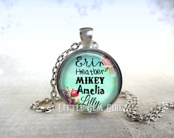 Personalized Grandma Name Necklace - Grandkids Names Jewelry - Custom Kid Name Charm for Mom - 5 Colors & 14 Designs - Mother's Day Jewelry