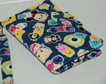 """Cell Phone Wristlet Wallet for iPhone6 Plus / Samsung Galaxy S6 Edge+ / Nexus 6 Made with  """"Tsm Tsum - Chino Denim"""" Fabric  Size: XL"""