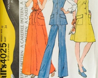 McCalls' 4025 Misses' Dress or Top Pattern, UNCUT, Size 12, Vintage 1974, Wide Leg Pants, Retro, Flashback, Maxi Dress, Tunic, Carefree
