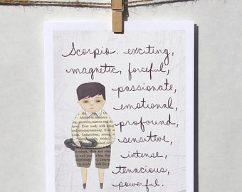 Scorpio boy card Astrology card Zodiac card Astrological sign card