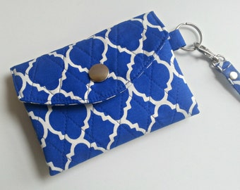 ID Wallet Key Chain quilted in Royal Blue Quattrefoil print