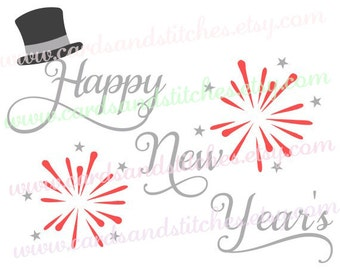 Happy New Year's SVG - New Year's Hat - Digital Cutting File - Instant Download - Vector File - Cricut SVG - Svg, Dxf, Jpg, Eps, Png