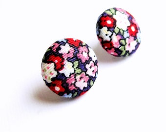 Floral fabric covered button earrings in red, white, purple, pink and blue