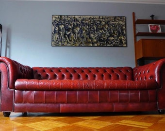 Tufted OX BLOOD Leather CHESTERFIELD sofa couch