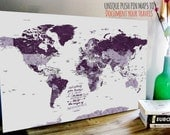 Push Pin Canvas Map, Foam backed Cotton Canvas, Cotton Gift, World map guestbook, Cotton Anniversary Gift