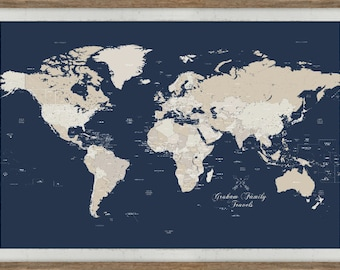 Push pin world map etsy push pin world map extra large map 40x60 inches framed world map sciox Images