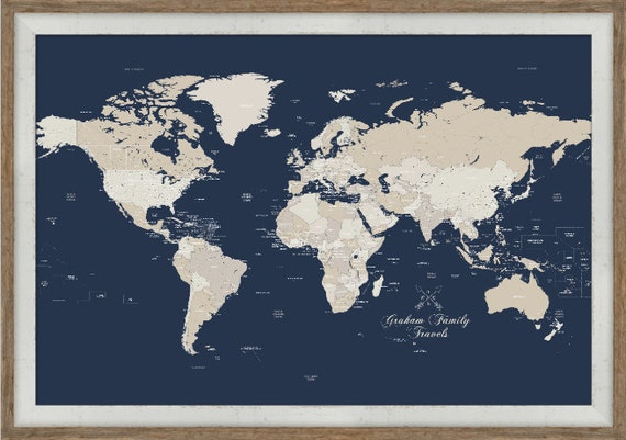 Paper anniversary push pin map small framed art world map like this item gumiabroncs Images