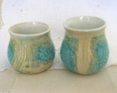 Handbuilt Stoneware Wine Glasses, 7 oz, Pencil Holder, Custard Cups, Handleless Mugs, Turquoise, Cream