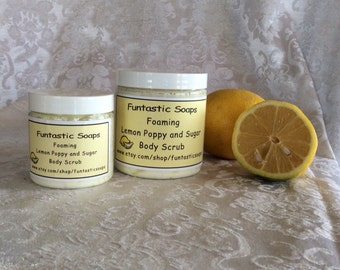 Foaming Lemon Poppy Sugar Scrub, Foaming Body Scrub, Cleansing Facial Scrub