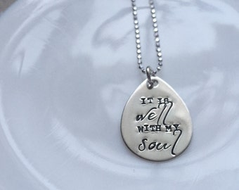 It Is Well With My Soul sterling silver necklace teardrop hymn memorial personalized custom engraved stamped