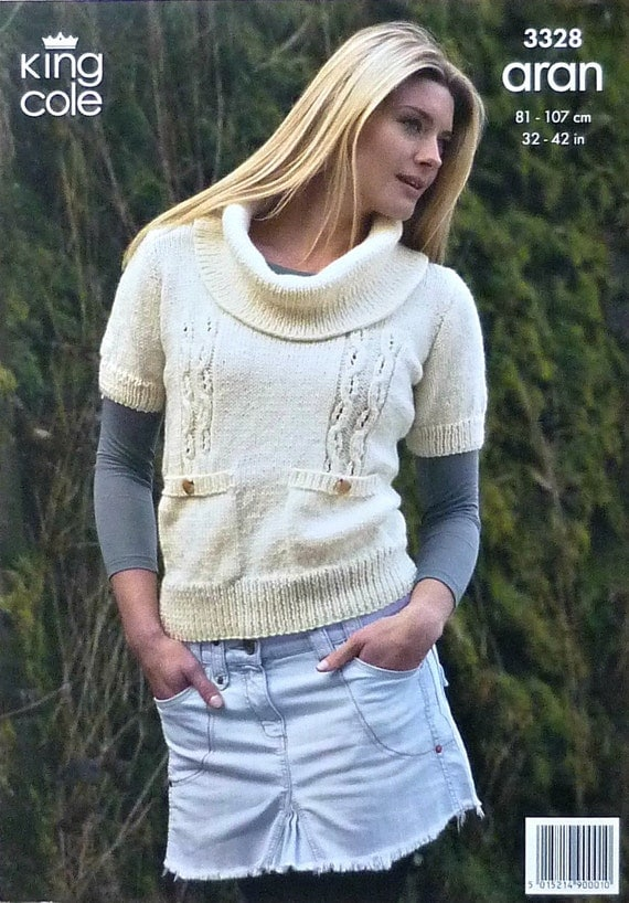 Knitting Pattern Ladies Short Sleeve Jumper : Womens Knitting Pattern K3328 Ladies Short Sleeve Jumper with