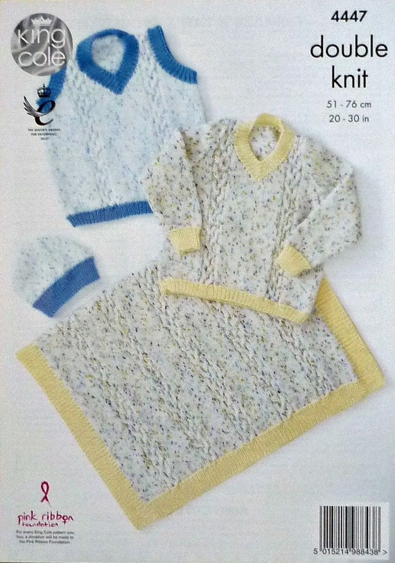 Children s Blanket Pattern Knitting : Boys Knitting Pattern K4447 Childrens Cable Blanket Hat