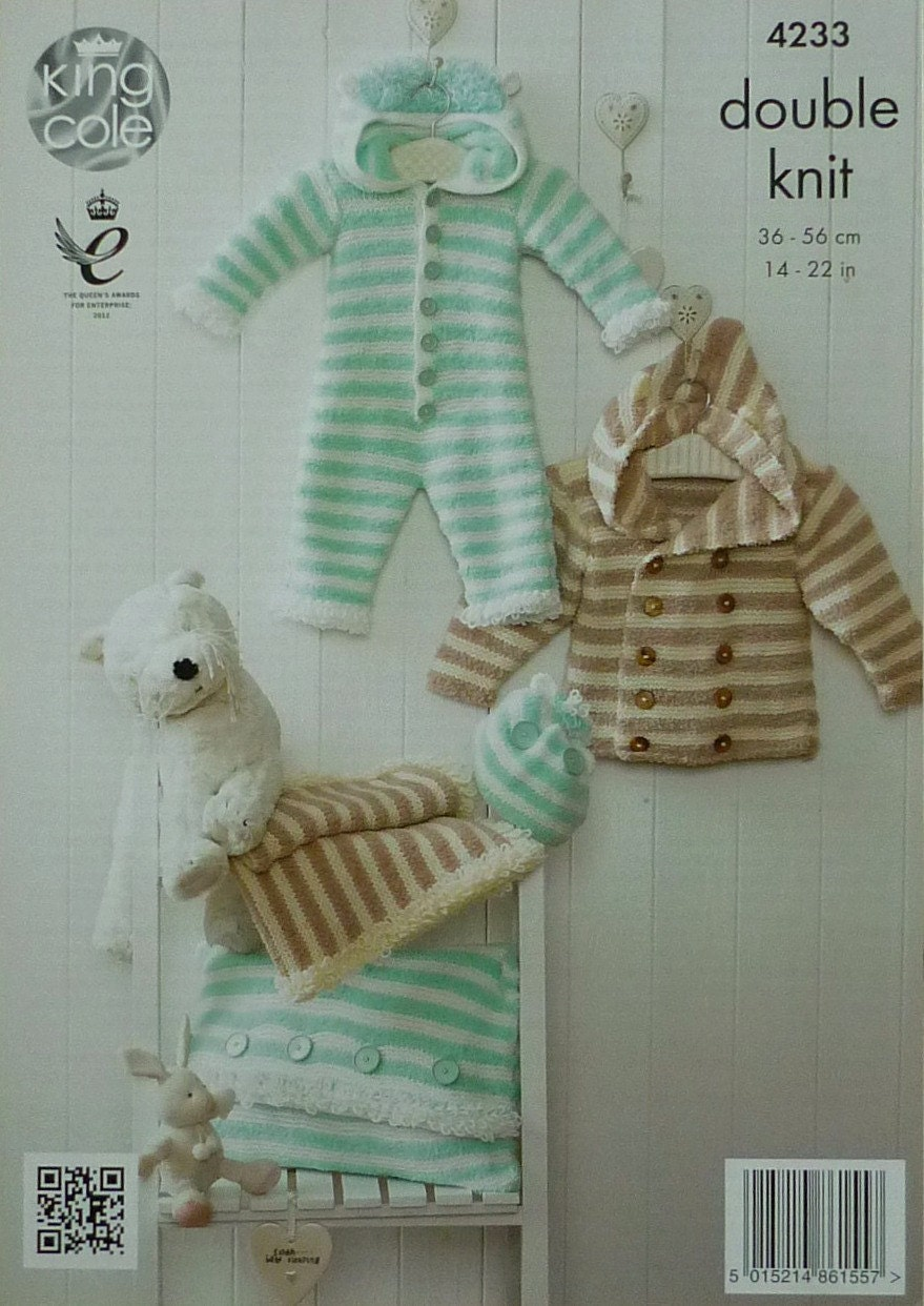 Baby Knitting Pattern K4233 Babies Striped Coat, Onesie Blanket Cushion and A...