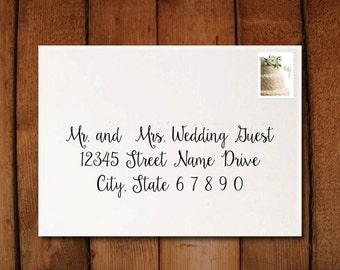 Digital Wedding Calligraphy Invitation Envelope Formatting to print at home- Sunflower
