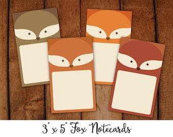 "Printable Fox Notecards 3x 5"""