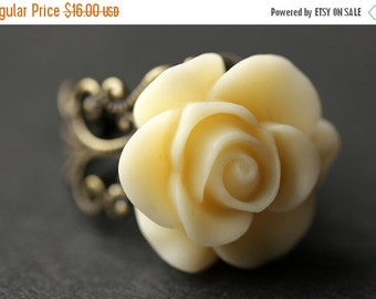 BACK to SCHOOL SALE Ivory Rose Ring. Ivory Flower Ring. Gold Ring. Silver Ring. Bronze Ring. Copper Ring. Adjustable Ring. Handmade Jewelry.