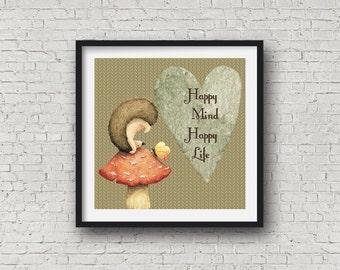 Woodland Nursery,Woodland Wall Art, Happy mind happy life, kids and baby decor,wall hanging