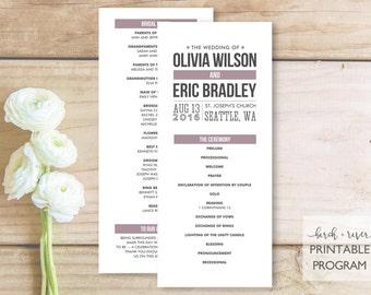 Printable Wedding Program