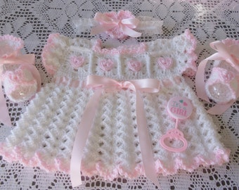 Crochet Baby Girl Summer Dress Layette Party Heart Set With Sandals and Headband Perfect For Baby Shower Gift or Take Home Outfit
