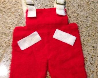 Vintage red santa pants stocking card holder plush