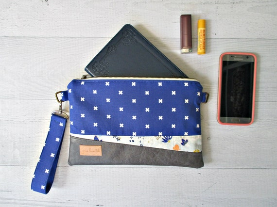 "Cobalt Blue Cross Body Bag. ""Juliet"" Clutch in Royal Blue and Wildflowers. Clutch with Wrist Strap. Vegan Leather Purse."