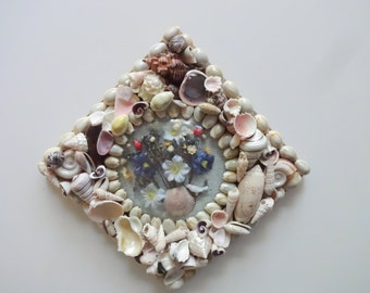Vintage Seashell Dried Flower Wall Hanging 1960s
