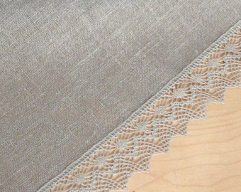 "Linen Table Runner Tablecloth Natural Gray Burlap Tablecloth Prewashed Linen Lace 56"" x 18.5"""