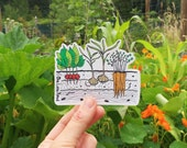 Veggie Garden Sticker - garlic, carrots, radish, root veggies, vegetables, garden, farm, nature, gift, illustration, grow, outdoor