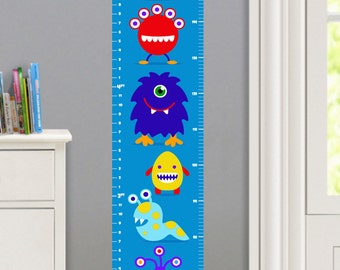 Kids Personalized Monsters Wall Decal Growth Chart