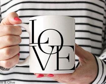 Love Mug Love Letters Mug Love Coffee Cup Unique Mug Modern Coffee Mug Love Typography Mug Anniversary Mug Anniversary Gift for Her Q0012
