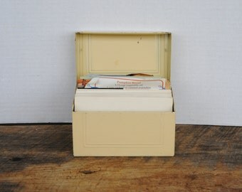 Vintage Cream Colored Metal Recipe Box with Blank Cards Plus Recipes