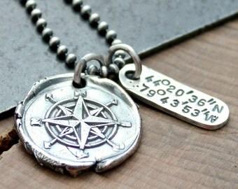 Personalized Coordinates Compass Necklace, Custom Location Necklace, Longitude & Latitude Necklace, Fine Silver Compass Necklace, Men's Neck