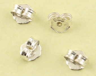 20pcs of 925 Sterling Silver Earring Backs, Butterfly Earnuts, 0.9mm hole