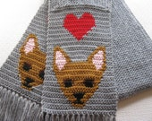 Chihuahua Dog Scarf. Grey, knit scarf with red hearts and fawn chihuahuas
